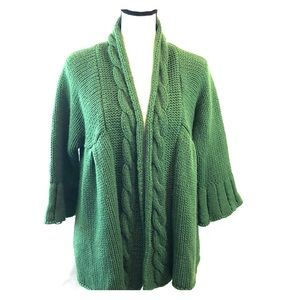 Cejon green cable knit cardigan 3/4 sleeves M/L